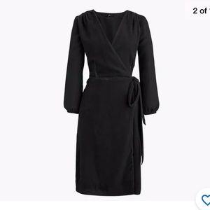 J. Crew Wrap Drapery Velvet Dress BLACK